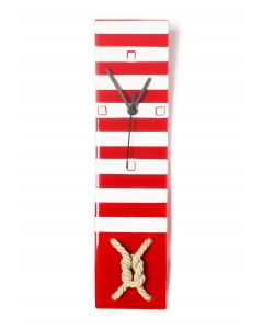 Nautic red-white wall clock 10x41 cm