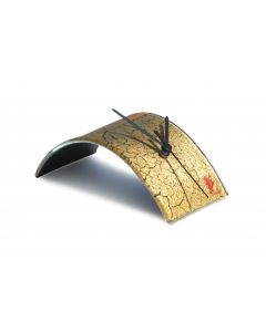 Crackled gold table clock 10x28 cm