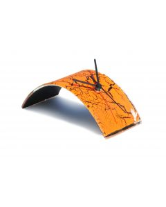 Crackled orange table clock 10x28 cm