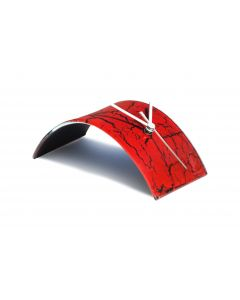 Crackled red table clock 10x28 cm