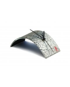 Crackled silver table clock 10x28 cm