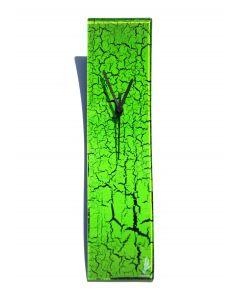 Crackled green wall clock 10x41 cm