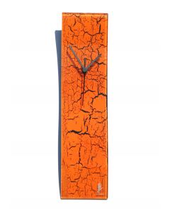 Crackled orange wall clock 10x41 cm