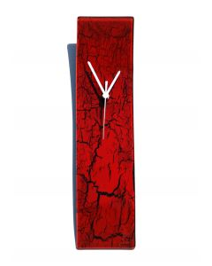 Crackled red wall clock 10x41 cm