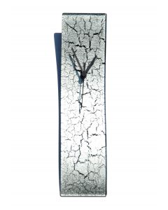 Crackled silver wall clock 10x41 cm
