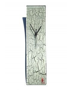 Crackled white wall clock 10x41 cm