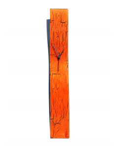 Crackled orange wall clock 10x70 cm
