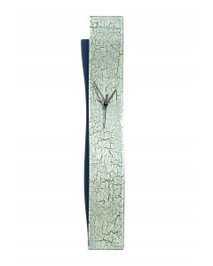 Crackled white wall clock 10x70 cm