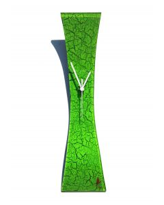 Crackled green wall clock 11x50 cm