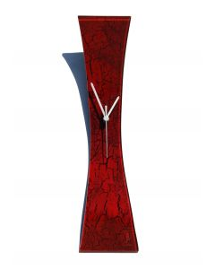 Crackled red wall clock 11x50 cm
