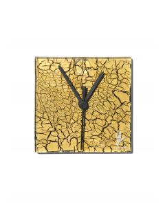 Crackled gold wall clock 13x13 cm