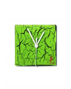Crackled green wall clock 13x13 cm