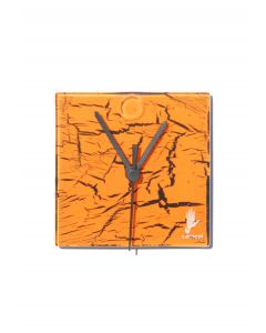 Crackled orange wall clock 13x13 cm