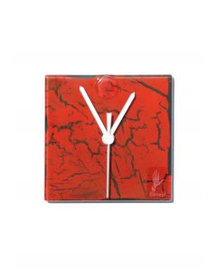 Crackled red wall clock 13x13 cm