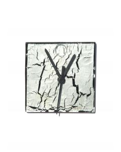 Crackled silver wall clock 13x13 cm