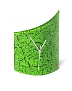 Crackled green table clock 21x26 cm