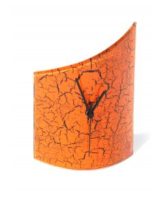 Crackled orange table clock 21x26 cm