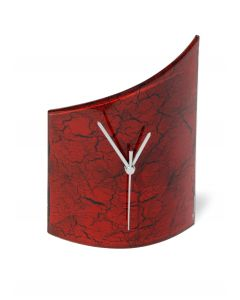 Crackled red table clock 21x26 cm