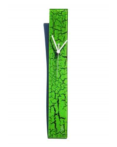 Crackled green wall clock 6x41 cm