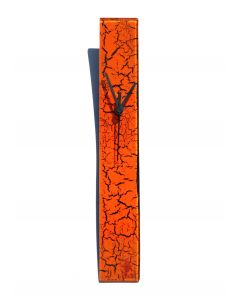 Crackled orange wall clock 6x41 cm