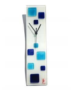 Patchy white-blue wall clock 10x41 cm