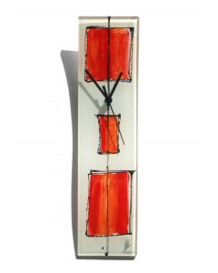 Cubie white-red wall clock 10x41 cm