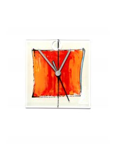 Cubie white-red wall clock 13x13 cm