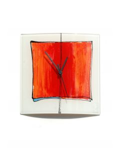 Cubie white-red wall clock 24x24 cm