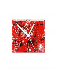 Splash red-white wall clock 13x13 cm
