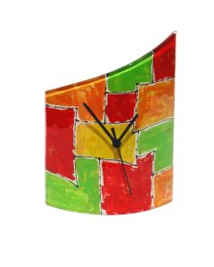 Mosaik red-orange table clock 21x26 cm