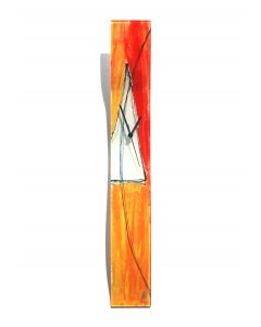 Geometry orange-white wall clock 10x70 cm