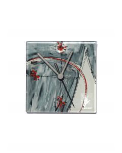 Geometry gray-red wall clock 13x13 cm