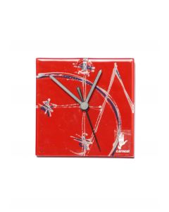 Geometry red wall clock 13x13 cm