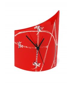 Geometry red table clock 21x26