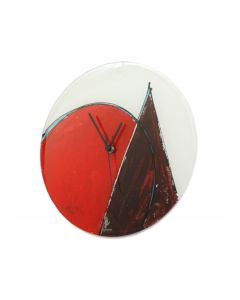 Geometry white-red wall clock 32 cm