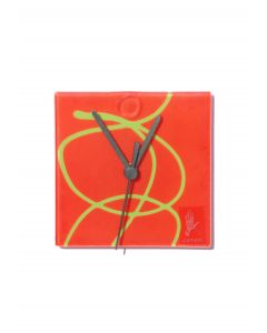 Geo red-green wall clock 13x13 cm