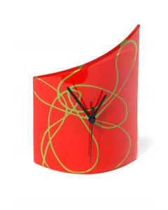 Geo red-green table clock 21x26 cm