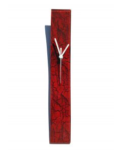 Crackled red wall clock 6x41 cm