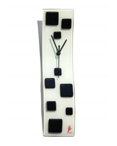 Patchy white-black wall clock 10x41 cm