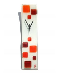 Patchy white-orange wall clock 10x41 cm