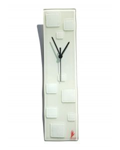 Patchy white-white wall clock 10x41 cm