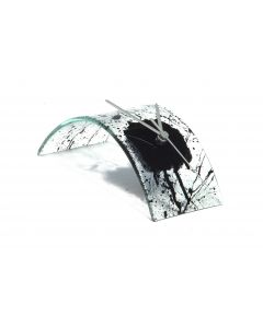 Natural transparent-black table clock 10x28 cm