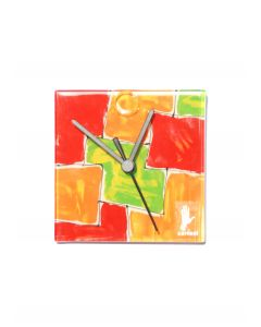 Mosaik red-orange wall clock 13x13 cm