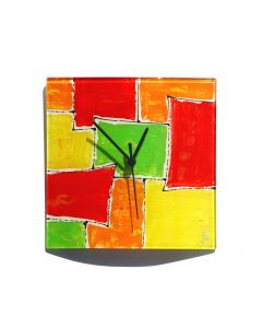 Mosaik red-orange wall clock 24x24 cm