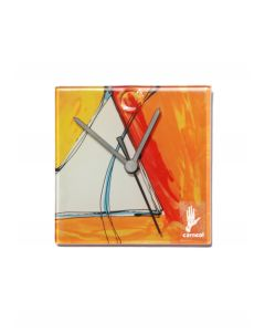Geometry orange-white wall clock 13x13 cm