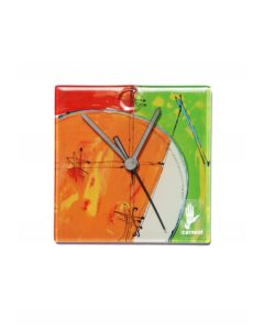 Geometry red-green wall clock 13x13 cm