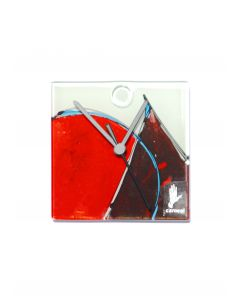 Geometry white-red wall clock 13x13 cm