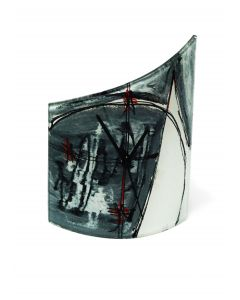Geometry gray-red table clock 21x26
