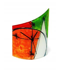 Geometry red-green table clock 21x26