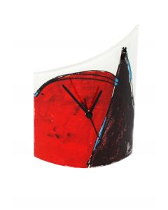 Geometry white-red table clock 21x26